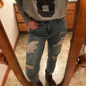 High-Waisted Faded Ripped Jeans